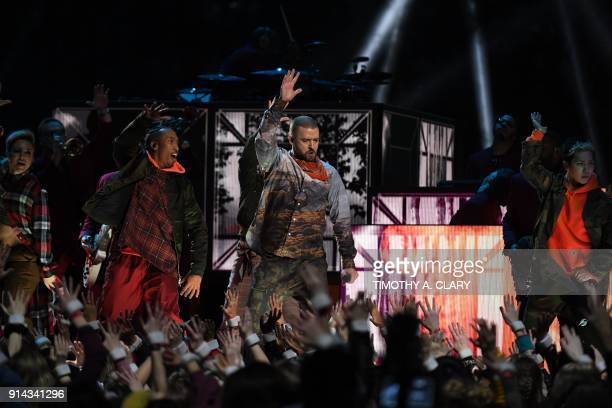 TOPSHOT Singer Justin Timberlake performs during the Pepsi Super Bowl LII Halftime Show at US Bank Stadium in Minneapolis Minnesota on February 4...