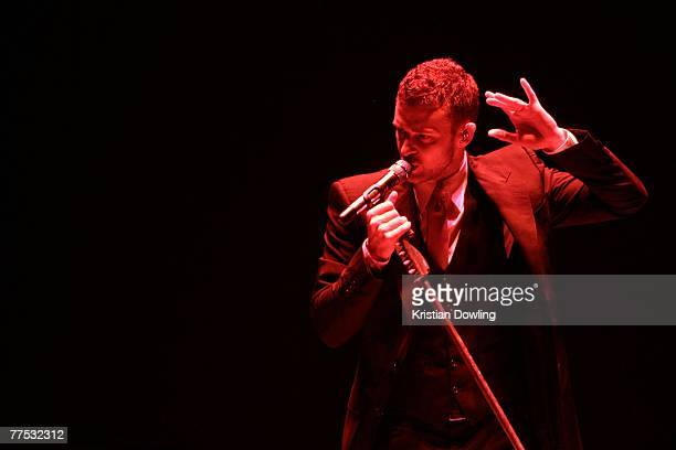 """Singer Justin Timberlake performs on stage at the first Australian concert of his """"FutureSexLoveShow"""" at the Brisbane Entertainment Centre on October..."""