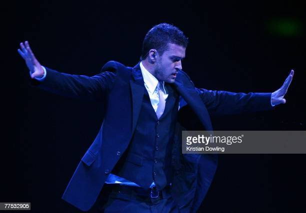 Singer Justin Timberlake performs on stage at the first Australian concert of his FutureSexLoveShow at the Brisbane Entertainment Centre on October...