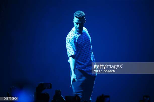 US singer Justin Timberlake performs on stage during a concert at the Telenor Arena in Oslo on August 2 2018 / Norway OUT