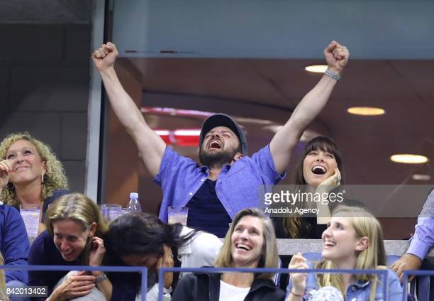 US singer Justin Timberlake reacts as Roger Federer of Switzerland competes against Feliciano Lopez of Spain during their Men's Singles tennis match...