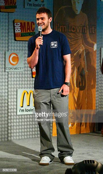 Singer Justin Timberlake speaks on stage at the McDonalds launch of their Sony Big Mac Meal tracks promotion on June 3 2004 in Hollywood California