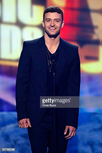 Singer Justin Timberlake speaks onstage during the 2008 American Music Awards held at Nokia Theatre LA LIVE on November 23 2008 in Los Angeles...