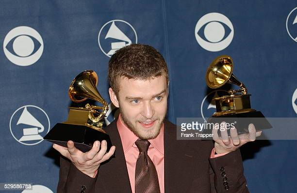 Singer Justin Timberlake with his two awards at the 46th Annual Grammy Awards