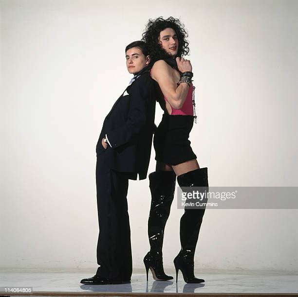 singer Justine Frischmann and Drummer Justin Welch of British indie band Elastica pose in crossdress for a photoshoot circa 1995 They are posing as...