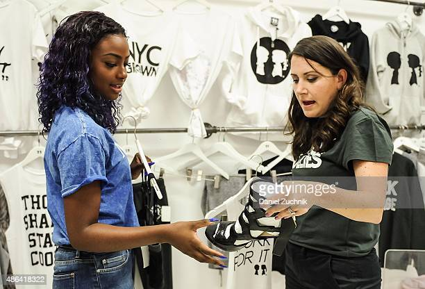 Singer Justine Skye and designer Stacy Igel attend a fitting for the 2016 Spring NYFW at Boy Meets Girl on September 3 2015 in New York City