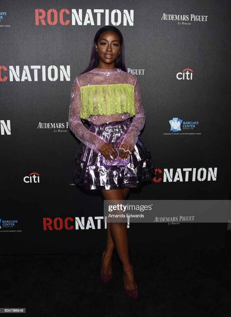 Singer Justine Skye arrives at Roc Nation's Pre-GRAMMY Brunch on February 11, 2017 in Los Angeles, California.