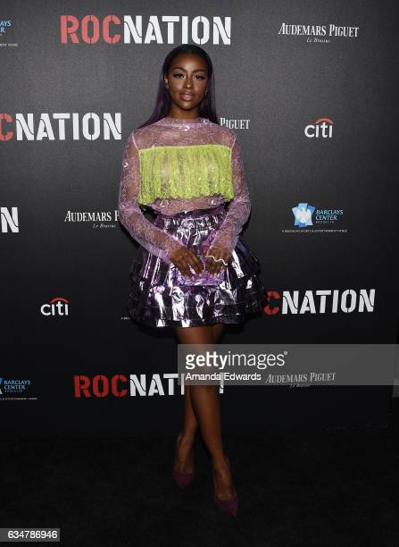 Singer Justine Skye arrives at Roc Nation's PreGRAMMY Brunch on February 11 2017 in Los Angeles California
