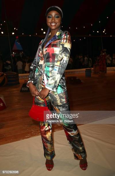 Singer Justine Skye attends Moschino Spring/Summer 19 Menswear and Women's Resort Collection at the Los Angeles Equestrian Center on June 8 2018 in...