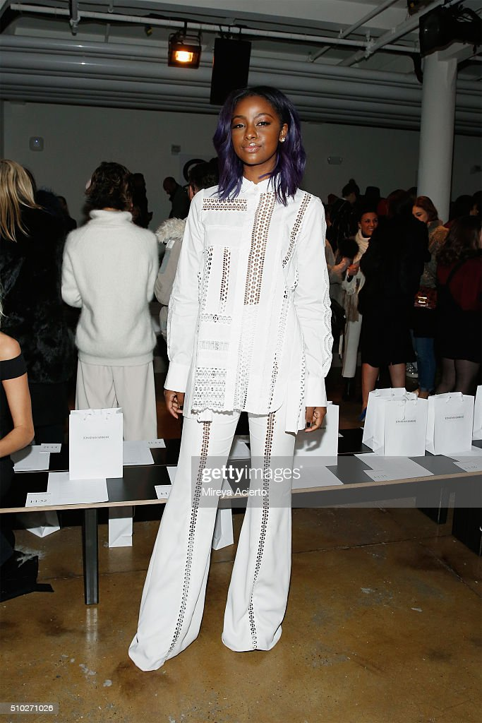 Singer Justine Skye attends the Jonathan Simkhai fashion show during Fall 2016 MADE Fashion Week at Milk Studios on February 14, 2016 in New York City.