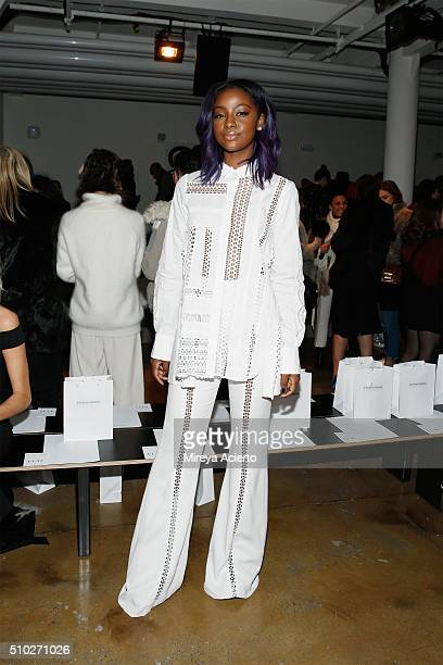 Singer Justine Skye attends the Jonathan Simkhai fashion show during Fall 2016 MADE Fashion Week at Milk Studios on February 14 2016 in New York City