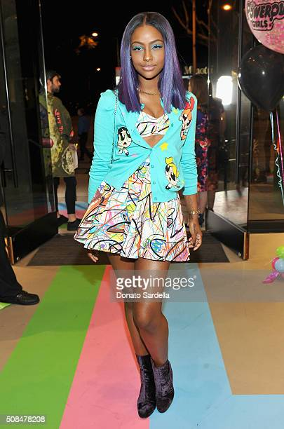 Singer Justine Skye attends The Powerpuff Girls x Moschino Launch Event at Moschino Store on February 4 2016 in West Hollywood California Moschino...