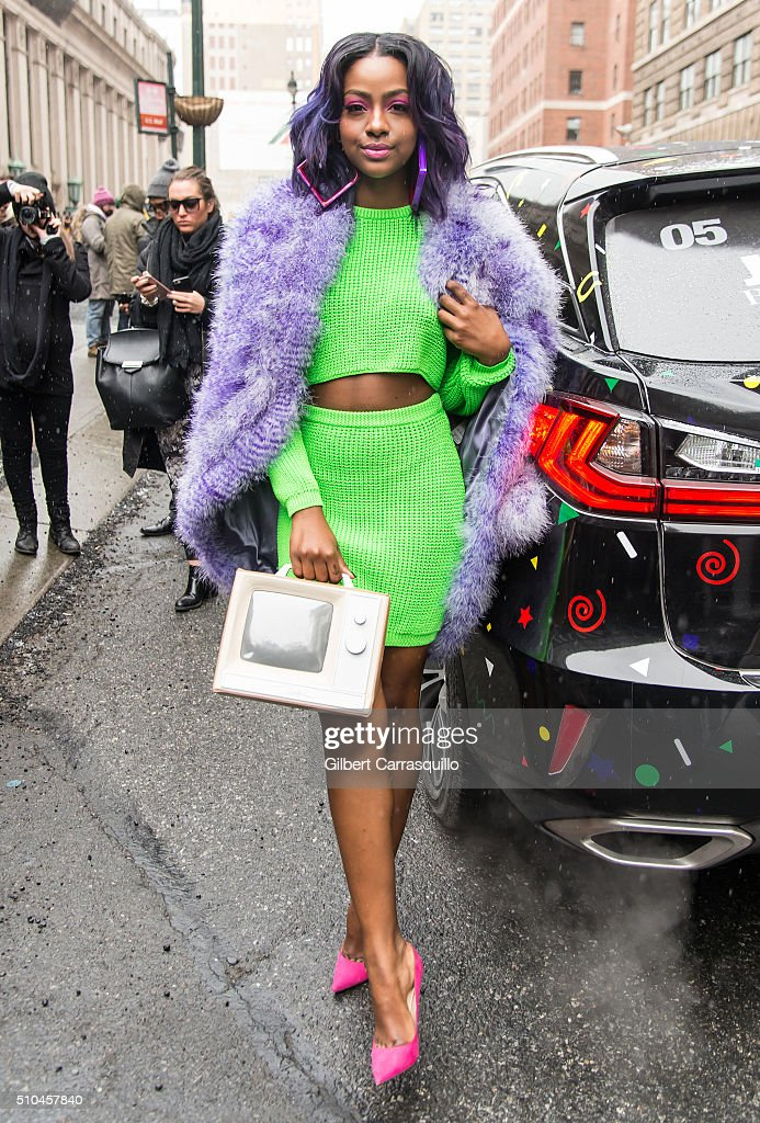 Singer Justine Skye is seen outside the Jeremy Scott Fall 2016 fashion show during New York Fashion Week: The Shows at The Arc, Skylight at Moynihan Station on February 15, 2016 in New York City.
