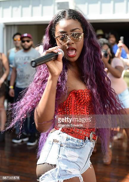 Singer Justine Skye performs at the NextRadio App Summer Pool Party Series with Kid Ink and Justine Skye at Mondrian Los Angeles on August 7 2016 in...