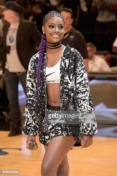 Singer Justine Skye performs at the Roc Nation Summer Classic Charity Basketball Tournament at Barclays Center of Brooklyn on July 21 2016 in New...