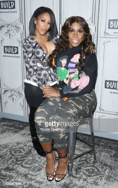 """Singer K. Michelle and drag queen Monet X Change attend """"The X Change Rate"""" at Build Studio on January 29, 2020 in New York City."""