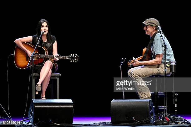 Singer Kacey Musgraves and Rock and Roll Hall of Fame membebr James Taylor perform onstage during All For The Hall Los Angeles A benefit concert...