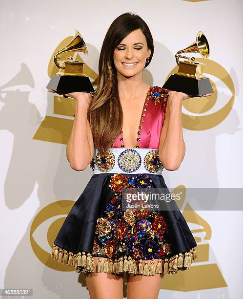 Singer Kacey Musgraves poses in the press room at the 56th GRAMMY Awards at Staples Center on January 26 2014 in Los Angeles California