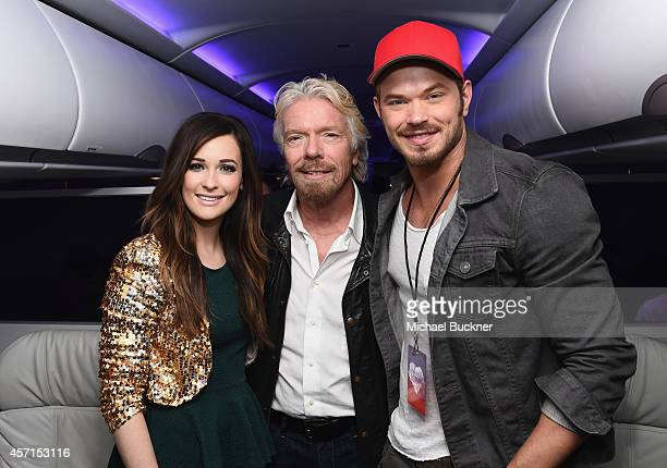 Singer Kacey Musgraves Sir Richard Branson Founder Virgin Group and actor Kellan Lutz board the Virgin America Downtown Express from DFW to Dallas...