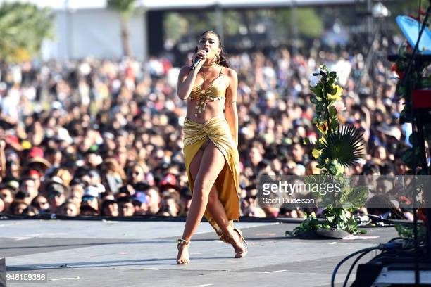 Singer Kali Uchis performs on the Outdoor stage during week 1 day 1 of the Coachella Valley Music And Arts Festival on April 13 2018 in Indio...