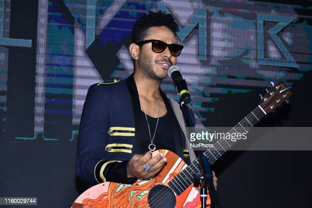 Singer Kalimba talks during a press conference to promote his latest album 'Somos Muchos y Venimos Todos' at Universal Music Auditorium on August 5,...