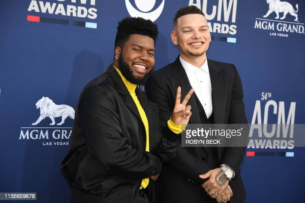 Singer Kane Brown and US singer Khalid arrive for the 54th Academy of Country Music Awards on April 7 at the MGM Grand Garden Arena in Las Vegas,...