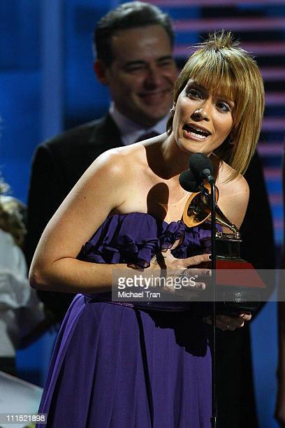 Singer Kany Garcia accepts the Best New Artist award onstage during the 9th annual Latin GRAMMY awards held at the Toyota Center on November 13 2008...