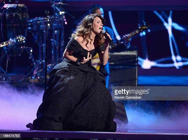 Singer Kany Garcia performs onstage during the 13th annual Latin GRAMMY Awards held at the Mandalay Bay Events Center on November 15 2012 in Las...