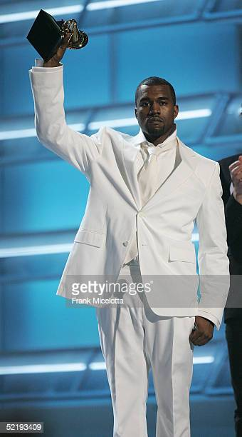 Singer Kanye West accepts the award for Best Rap Album on stage during the 47th Annual Grammy Awards at Staples Center February 13 2005 in Los...