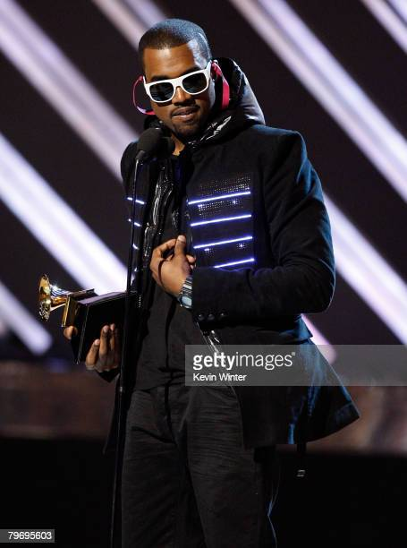 Singer Kanye West accepts the Best Rap Album award for ' Graduation' onstage during the 50th annual Grammy awards held at the Staples Center on...