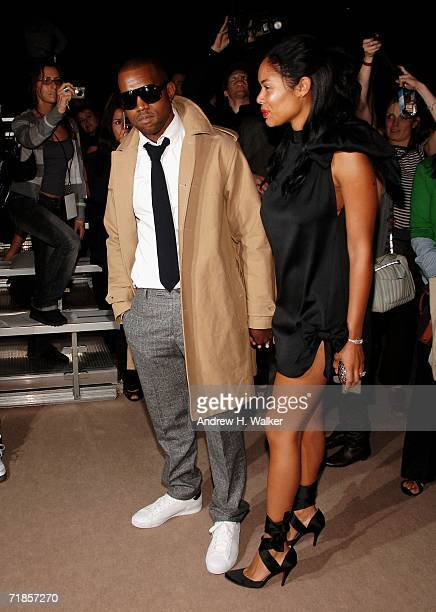Singer Kanye West and his fiance Alexis attend the Marc Jacobs Spring 2007 fashion show during Olympus Fashion Week at the NY State Armory September...