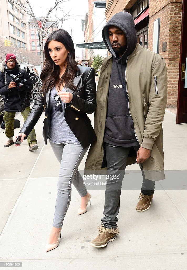 Singer Kanye West and Kim Kardashian are seen in Tribeca on March 25, 2014 in New York City.
