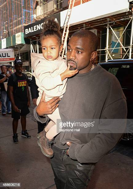 Singer Kanye West and North West are seen in Soho on September 16 2015 in New York City