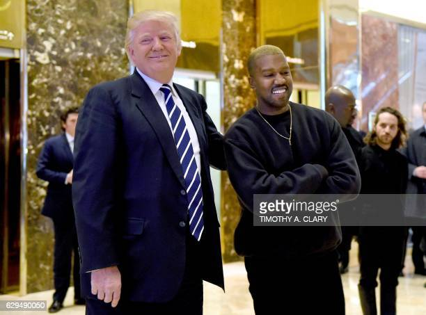 Singer Kanye West and Presidentelect Donald Trump speak with the press after their meetings at Trump Tower December 13 2016 in New York