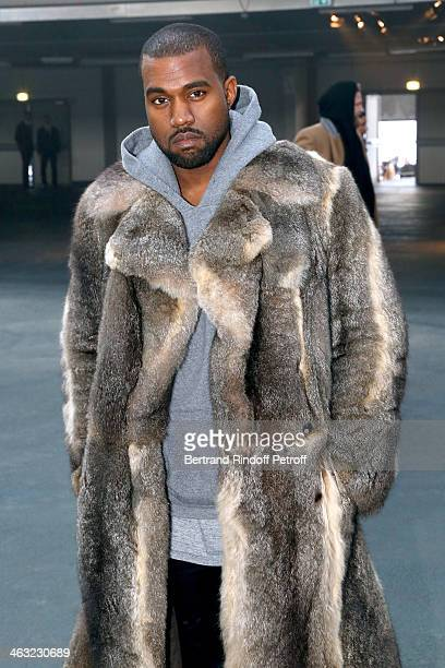 Singer Kanye West attends the Givenchy Menswear Fall/Winter 20142015 Show as part of Paris Fashion Week Held at Halle Freyssinet on January 17 2014...