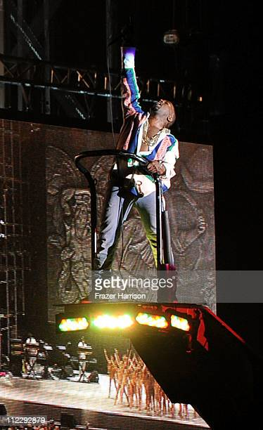 Singer Kanye West performs during Day 3 of the Coachella Valley Music Arts Festival 2011 held at the Empire Polo Club on April 17 2011 in Indio...
