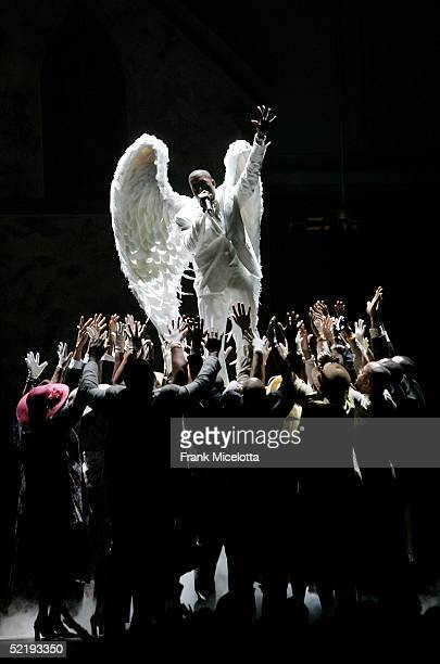 Singer Kanye West performs Jesus Walks onstage during the 47th Annual Grammy Awards at the Staples Center February 13 2005 in Los Angeles California