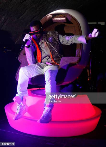 Singer KanYe West Performs live at the Casio GSHOCK 25th Anniversary Celebration at Gustavino's on May 14 2008 in New York City