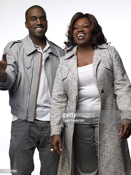 Singer Kanye West poses with his mother Donda West at a portrait session in New York