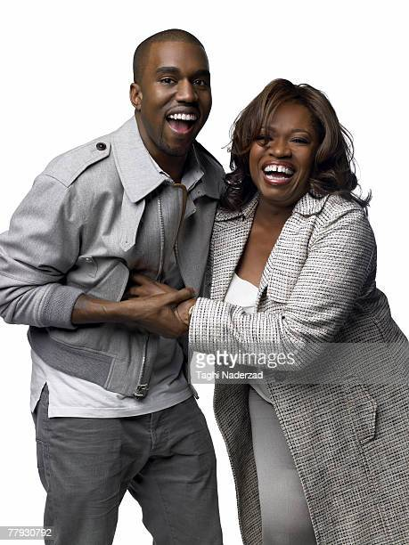 Singer Kanye West poses with his mother Donda West at a portrait session in New York Published image