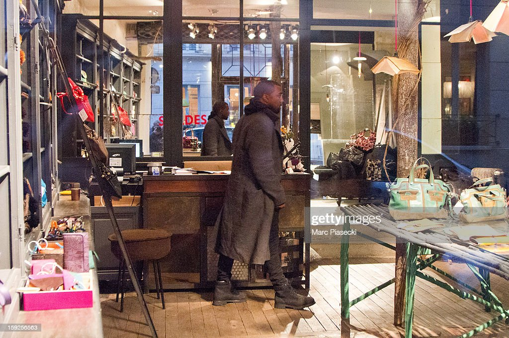Singer Kanye West sighted at the 'Jamin Puech' store on January 10, 2013 in Paris, France.