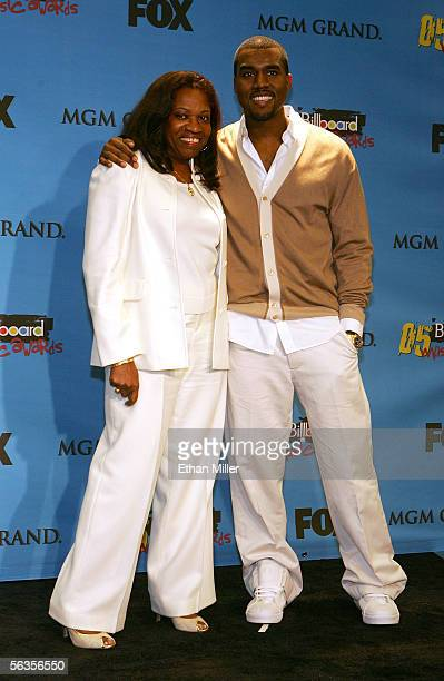 Singer Kanye West winner of Artist Achievment Award and mother Donda pose in the press room at the 2005 Billboard Music Awards held at the MGM Grand...