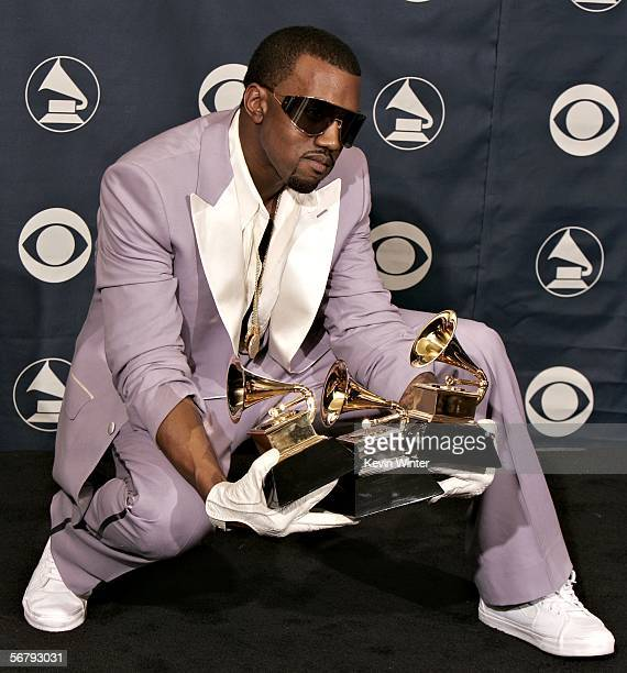Singer Kanye West with his awards for Best Rap Song Best Rap Solo Performance and Best Rap Album in the press room at the 48th Annual Grammy Awards...