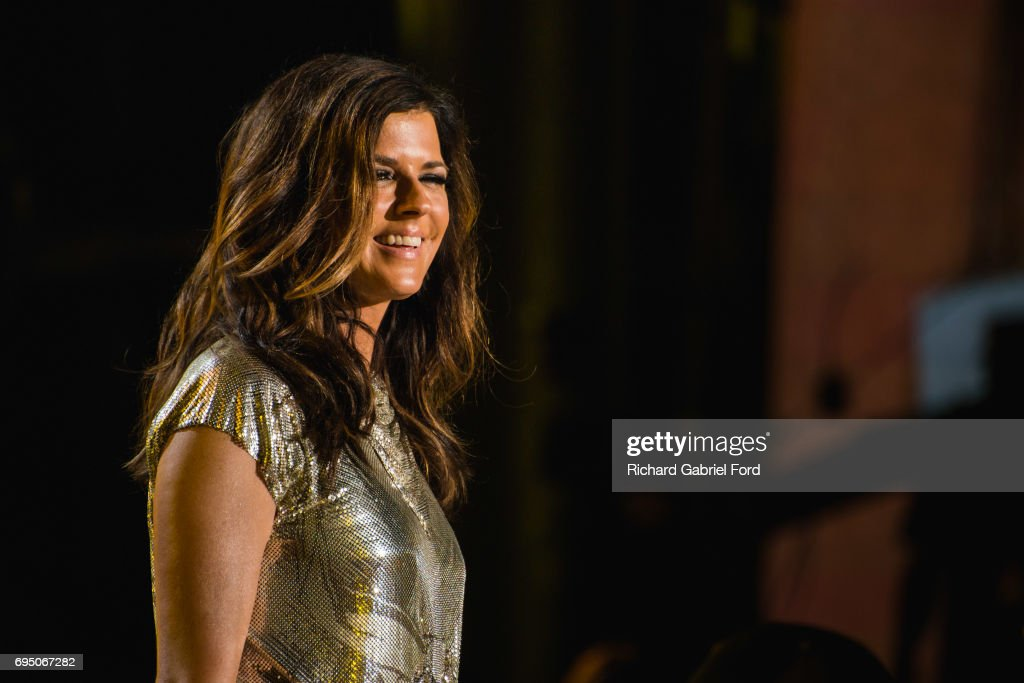 Singer Karen Fairchild of Little Big Town performs at Nissan Stadium during day 4 of the 2017 CMA Music Festival on June 11, 2017 in Nashville, Tennessee.