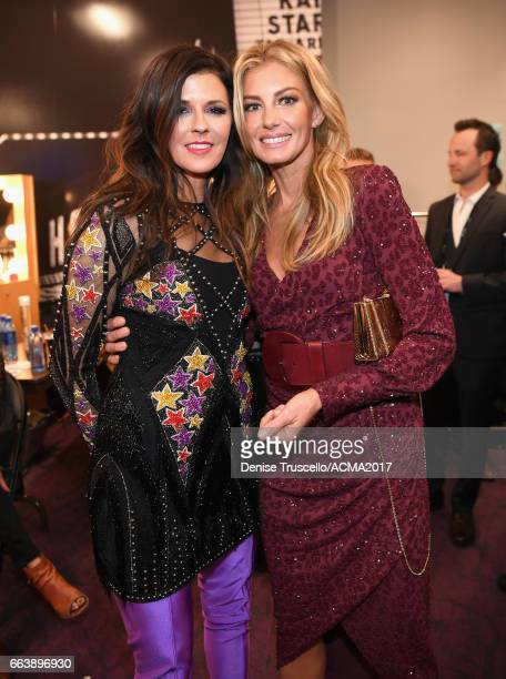 Singer Karen Fairchild of the music group Little Big Town and recording artist Faith Hill attend the 52nd Academy Of Country Music Awards at TMobile...