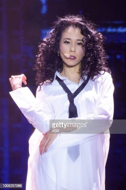 Singer Karen Mok performs onstage during her 'The Ultimate Karen Mok Show' concert on July 21 2018 in Macao China