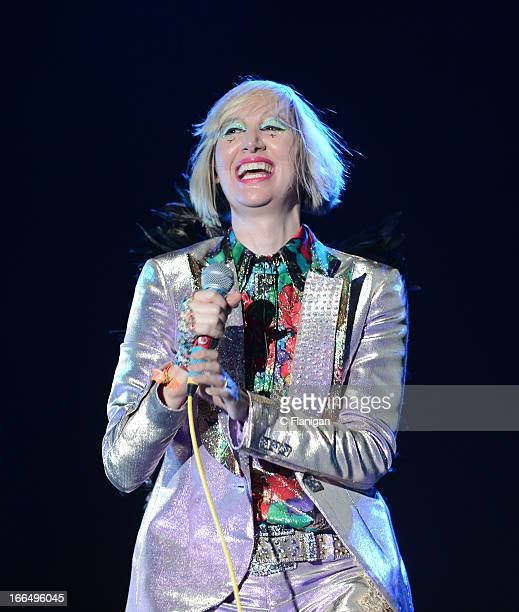 Singer Karen O of The Yeah Yeah Yeahs performs during Day 1 of the 2013 Coachella Music Festival on April 12 2013 in Indio California