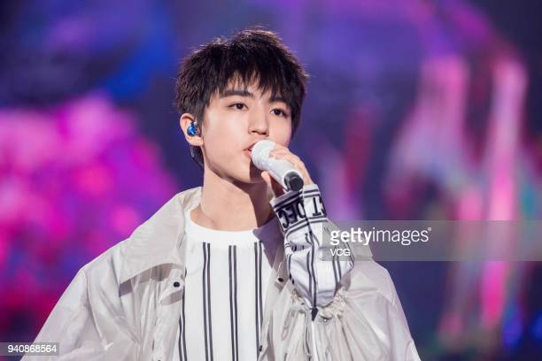 Singer Karry Wang Junkai performs during a launch ceremony of OPPO R15 on March 31 2018 in Shenzhen Guangdong Province of China