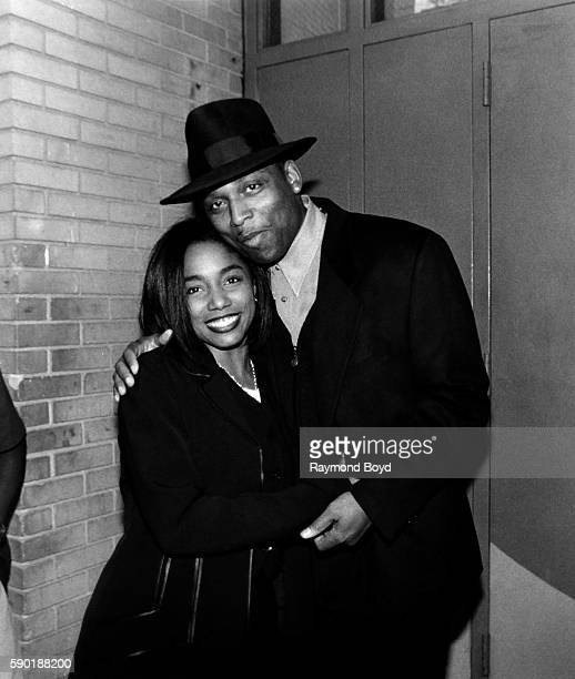Singer Karyn White poses for photos with exhusband Producer Terry Lewis at George's Music Room in Chicago Illinois in January 1994