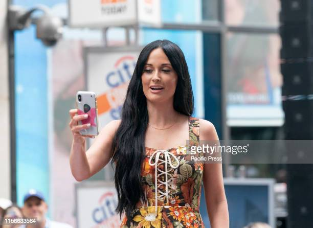 Singer Kasey Musgraves takes selfie for fans during performance on NBC TODAY SHOW at Rockefeller Plaza